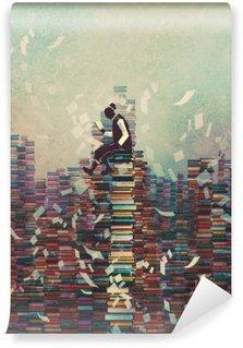 Vinyl Fotobehang Man het lezen van boek zittend op stapel boeken, kennis concept, illustratie painting