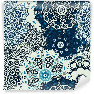 Vinyl Fotobehang Mandala bloem naadloze patroon blauwe achtergrond