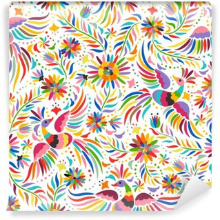 Vinyl Fotobehang Mexicaanse borduurwerk naadloos patroon. Kleurrijke en sierlijke etnische patroon. Vogels en bloemen lichte achtergrond. Bloemen achtergrond met heldere etnische ornament.
