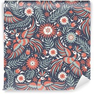 Vinyl Fotobehang Mexicaanse borduurwerk naadloos patroon. Kleurrijke en sierlijke etnische patroon. Vogels en bloemen op de donkere rode en zwarte achtergrond. Bloemen achtergrond met heldere etnische ornament.