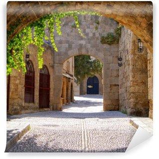 Vinyl Fotobehang Middeleeuwse gebogen straat in de oude stad van Rhodos, Griekenland