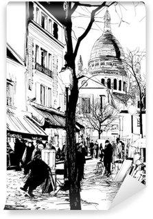 Vinyl Fotobehang Montmartre in de winter