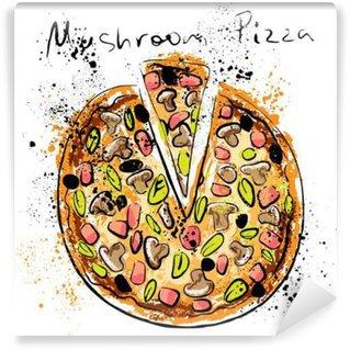 Vinyl Fotobehang Mushroom pizza, getekend met krijt op een schoolbord