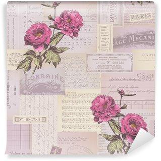 Vinyl Fotobehang Naadloos betegelen papier collage patroon met pioenen