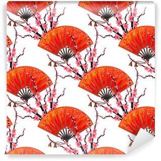 Vinyl Fotobehang Naadloos Japan patroon met Japanse de hand ventilator en sakura kersenbloesem vector achtergrond. Perfect voor achtergronden, patroonvullingen, webpagina achtergrond, oppervlaktestructuren, textiel