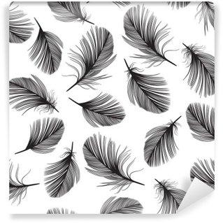 Vinyl Fotobehang Naadloos patroon met de hand getekende veren.