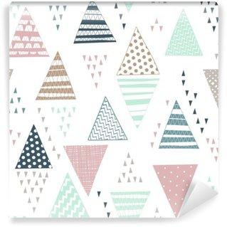 Vinyl Fotobehang Naadloos patroon met decoratieve hand getekende driehoeken.