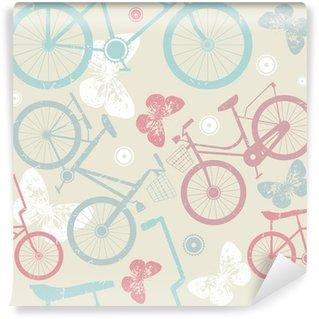 Vinyl Fotobehang Naadloos patroon met retro fietsen en leuke vlinders