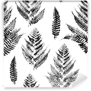Vinyl Fotobehang Naadloos patroon met verf afdrukken van varenbladeren