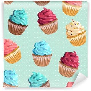Vinyl Fotobehang Naadloze cupcakes en polka dot