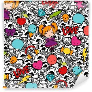 Vinyl Fotobehang Naadloze kawaii kind patroon met leuke krabbels.