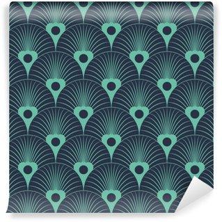 Vinyl Fotobehang Naadloze neon blauw art deco bloemen overliggende patroon vector