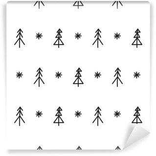 Vinyl Fotobehang Naadloze patroon van de kerstboom