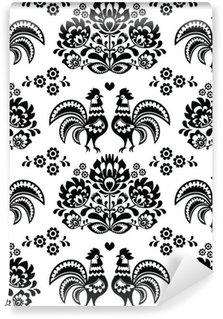 Vinyl Fotobehang Naadloze Pools, Slavisch zwart volkskunst patroon met hanen