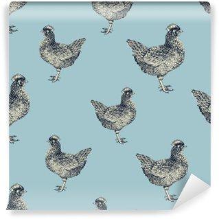 Vinyl Fotobehang Naadloze vector patroon met kippen en kuikens.