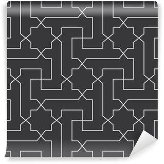 Vinyl Fotobehang Naadloze zwart-wit klassieke Arabische diagonaal kruis en ster patroon vector