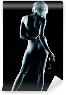 Vinyl Fotobehang Naakte vrouw en wijn