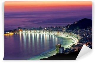 Vinyl Fotobehang Nacht uitzicht van Copacabana strand. Rio de Janeiro