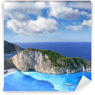 Vinyl Fotobehang Navagio Beach met schipbreuk in Zakynthos, Griekenland