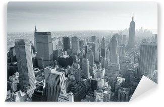 Vinyl Fotobehang New York City skyline zwart en wit
