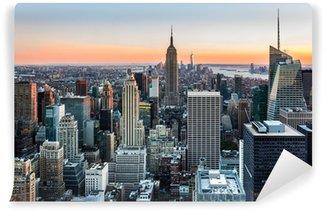 Vinyl Fotobehang New York Skyline bij zonsondergang