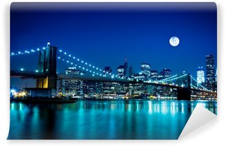 Vinyl Fotobehang Night Scene Brooklyn Bridge en New York