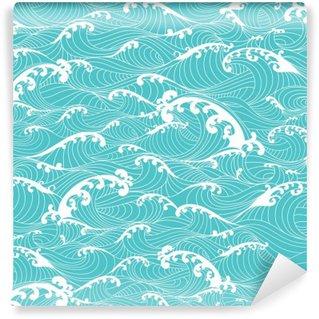 Vinyl Fotobehang Oceaangolven, strepenpatroon naadloze hand getekende Aziatische stijl