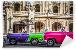 Vinyl Fotobehang Oldtimer-cabriolets in Havana, Cuba