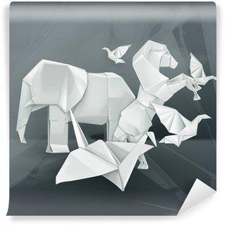 Vinyl Fotobehang Origami dieren illustratie