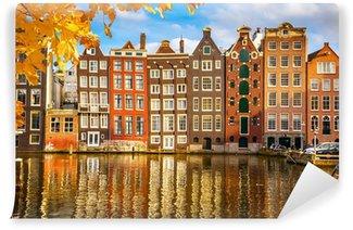 Vinyl Fotobehang Oude gebouwen in Amsterdam