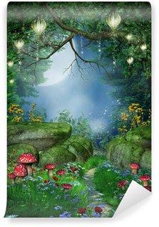 Vinyl Fotobehang Pad in het bos met lantaarn
