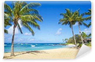 Vinyl Fotobehang Palmbomen op het zandstrand in Hawaii