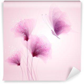 Vinyl Fotobehang Pastel vlinder en delicate bloemen