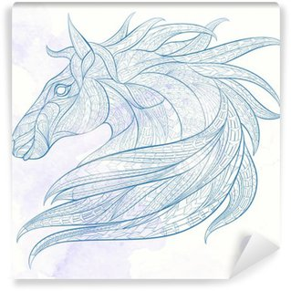 Vinyl Fotobehang Patterned hoofd van het paard op de grunge achtergrond. Afrikaanse / Indiase / totem / tattoo ontwerp. Het kan worden gebruikt voor het ontwerp van een t-shirt, tas, briefkaart, een poster en ga zo maar door.