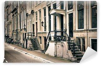 Vinyl Fotobehang Perspectief van de oude amsterdam