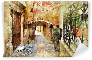 Vinyl Fotobehang Picturale oude straten van Griekenland, Kreta