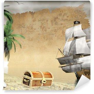 Vinyl Fotobehang Piratenschip vinden schat - 3D render