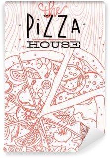 Vinyl Fotobehang Pizza hout poster