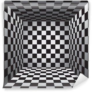 Vinyl Fotobehang Plaid room, zwart en witte bloedcellen, 3d schaakbord, vectorontwerpachtergrond