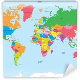 Vinyl Fotobehang Politieke kaart van de wereld vector