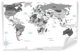 Vinyl Fotobehang Politieke kaart van de wereld