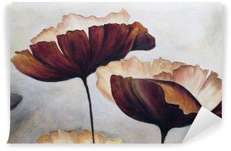 Vinyl Fotobehang Poppy abstract schilderij