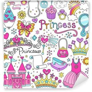 Vinyl Fotobehang Prinses Sprookje Tiara Notebook Doodles Vector Set