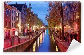 Vinyl Fotobehang Red Light District in Amsterdam