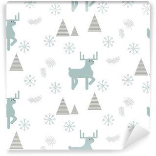 Vinyl Fotobehang Rendieren in een besneeuwde bossen naadloze vector patroon. Scandinavische stijl wit en blauw pastel achtergrond.
