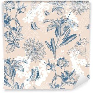 Vinyl Fotobehang Retro bloem vector illustratie