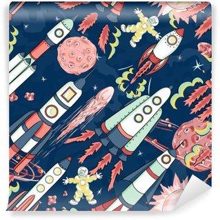 Vinyl Fotobehang Ruimteschip naadloos patroon