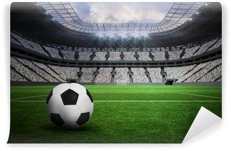 Vinyl Fotobehang Samengesteld beeld van zwart-wit lederen voetbal