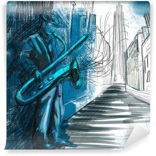 Vinyl Fotobehang Saxofonist (full-size hand tekenen - origineel)