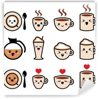 Vinyl Fotobehang Schattig koffie, cappuccino en espresso kawaii icon set - vector